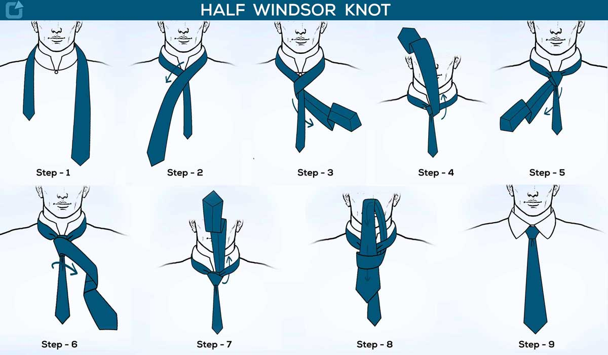 How to tie a tie half windsor knot step by step with picture